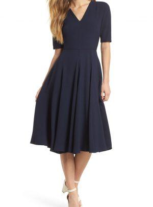 Edith City Crepe Fit & Flare Midi Dress
