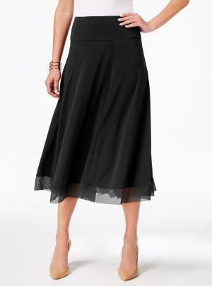 JM Collection Mesh-Hem A-Line Skirt
